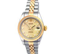 18k Yellow Gold and Stainless Steel. Champagne Jubilee Serti Diamond Dial.  #69173