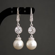Wedding Pearl Jewelry Bridal Earrings Cubic Zirconia Round White Pearl Earrings Silver dangle Wedding Earrings