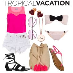 Tropical Vacation featuring Wolf & Whistle pink and coral swing top. Whistles Fashion, Sophie Anderson, Astley Clarke, Leather Gladiator Sandals, Allura, Swing Top, Loose Tops, Aphrodite, Percy Jackson