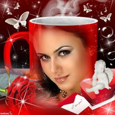 Love Cup. Click to add your face, or a picture of the one you love. It's free to play with Imikimi. #red #love #mug #cup #photo #collage