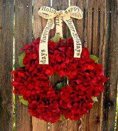 Red Hydrangea Holiday Wreath  Red Christmas by Frontporchdecor