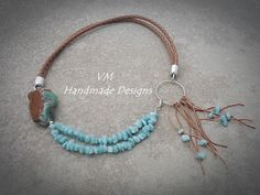 Tithorea Handmade: Brown And Turquoise Necklace