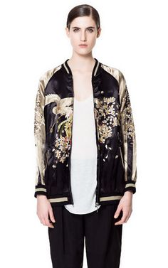 EMBROIDERED BOMBER JACKET WITH CONTRAST DETAILING - Blazers - Woman - ZARA United States