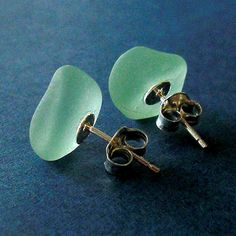 Little chunks of ice that never melt - that's what this pair of glowing seaglass nuggets reminds me of. Sold!