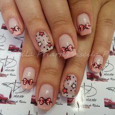 Pink and black heart nail art on a white french manicure ♡ Bow Nail Art, Heart Nail Art, Heart Nails, Love Nails, Pretty Nails, Nail Art Designs, Hello Kitty Nails, Valentine Nail Art, French Tip Nails