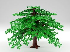 I needed a tree for my next project so I created this oak-like tree. If you zoom in you can see the small birdhouse. Inspired by Paultox, among many others. Computer rendering but buildable if you have the bricks. The Hobbit Game, Lego Tree, Lego Trains, Lego Castle, Everything Is Awesome, Lego Moc, Lego Building, Oak Tree, Lego City