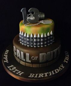 Tartas de Cumpleaños - Birthday Cake - Call of Duty Cake - COD by Nicola Cooper… 13 Birthday Cake, Birthday Cakes For Teens, 13th Birthday Parties, Teen Birthday, Birthday Ideas, Teen Cakes, Cakes For Boys, Cupcakes, Cupcake Cakes