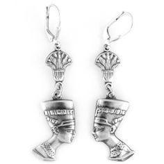 Egyptian Jewelry Silver Queen Nefertiti Earrings KemetArt. $32.99. Made in Egypt. Hand Made. Sterling Silver. Save 53%!