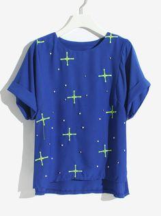 Blue Short Sleeve Cross Embroidery Bead T-Shirt - Sheinside.com Pantalones  Cortos De 010bbcd36acc