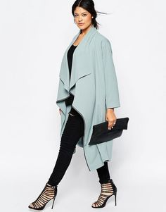 Duster Jacket With Waterfall Front from ASOS Curve. Love the powder blue colour of this drapey jacket. Plus size, dress your shape, curvy fashion, winter plus size fashion #asos #ad