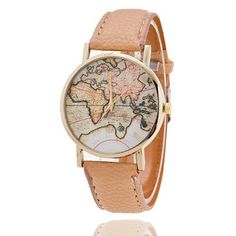 Cheap watch clock, Buy Quality watch leather strap directly from China watch f Suppliers: Fashion Women's World Map Watch Leather Strap Analog Quartz Wrist Watch Clock relogio feminino Ladies Casual Women's Watches Leather Case, Pu Leather, Map Watch, Women's Dress Watches, Antique World Map, Vintage Watches, Cool Watches, Unique Watches, Women's Watches