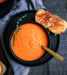 ROASTED TOMATO AND RED PEPPER SOUP WITH GARLIC CHALLAH GRILLED CHEESE