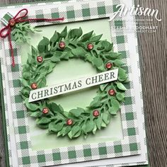 Stampin Up Christmas, Christmas Tag, Handmade Christmas, Christmas Wreaths, Christmas Crafts, Winter Cards, Holiday Cards, Wondrous Wreath, Leaf Cards