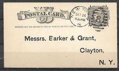 Vintage 1- 1870-80 Postal Cards - 1c - Scott#: UX7 - Liberty NY,NY Fancy Cancel