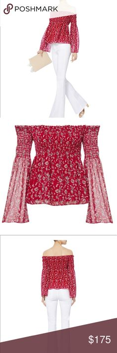 NWOT Intermix Exclusive Kira Off the Shoulder XS NWOT Exclusive for Intermix Kira Smocked off the shoulder top in size P. Perfect for summer soirees, this red-hot floral top features an off the shoulder neckline and smocked bodice. Shocking at the top portion of long sleeves. Long, semi-sheer bell sleeves. Lined. 100% Silk. Intermix Tops Blouses