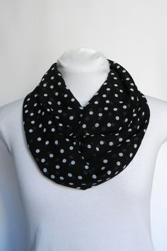 Black and White Polka Dot Infinity Scarf / Loop Scarf / Womens Scarf / Chiffon Lightweight / Sheer Scarf Fall Scarf / Accessory Spring Scarf