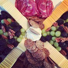 Blackberries, grapes, pecans, cheeses, crackers, salami YUM
