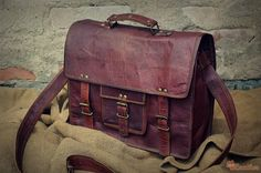 Leather Messenger Bag / Air Plane Cabin Bag / Briefcase / Handbag / Satchel / Shoulder Bag / iPad / Hip Bag