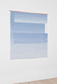 """PALE BLUE PLANES by Mimi Jung Natural Fibers on Copper Rod 47.5"""" x 52"""" 2014"""
