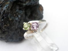 Natural Gemstone Peridot - Natural Gemstone Amethyst - 925 Sterling Silver Two Faceted  Stone Ring on Etsy, $26.50. Our birthstones are each other's favorite colors ;)