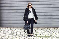Trini | Barbour navy duffle coat Gap sweatshirt Louis Vuitton Sofia Coppola bag