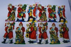 Bogen Glanzbilder Oblaten ca. 1970 Mamelok MLP 782 Weihnachtsmänner