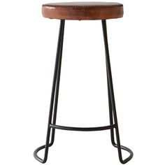 Weylandts - An industrial looking bar stool with a comfortable leather seat.