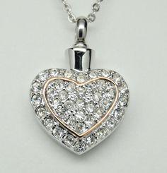 HEART URN NECKLACE CZ CREMATION JEWELRY HEART CREMATION MEMORIAL KEEPSAKE URN