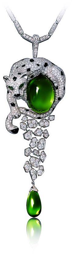 Cartier (White gold, peridots, onyx, emeralds, diamonds)