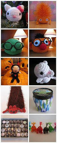 Here is a list of the free patterns I've written up on craftster. 1. Hello Kitty, 2. Calcifer, 3. Dr. Bunsen Honeydew Glasses Rest, 4. Ernie Glasses Rest, 5. Amigurumi Garu, 6. Oboro Chan, 7. Faux Fur Scarf, 8. Ben & Jerry's Ice Cream Sweater, 9. Crochet Bonbons, 10. Bugs 11. Not pictured: white elephant: www.craftster.org/forum/index.php?topic=213510.msg2293912... Created with fd's Flickr Toys
