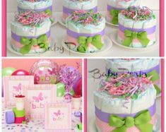 Tortas de pañales Mini de cuatro elefante por MrsHeckelDiaperCakes