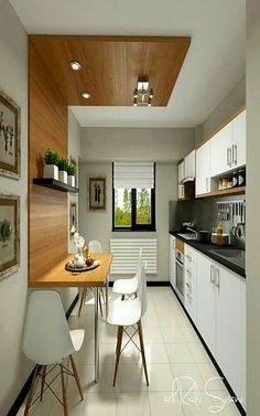Modern Kitchen Interior Remodeling Don't really feel limited by a small kitchen area. These 50 layouts for smaller sized kitchen rooms to inspire you to take advantage of your own tiny kitchen Small Kitchen Tables, Kitchen Sets, New Kitchen, Kitchen Interior, Kitchen Dining, Kitchen Modern, Kitchen Cabinets, Modern Farmhouse, Apartment Interior
