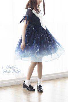 Pretty Rock Baby -Starry Night of The Summer- Sailor Lolita OP Dress,Lolita Dresses, Harajuku Fashion, Japan Fashion, Kawaii Fashion, Lolita Fashion, Cute Fashion, Fashion Beauty, Girl Fashion, Pretty Outfits, Cute Outfits