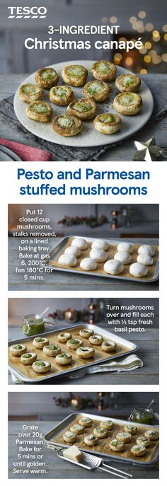 You only need three ingredients to make this bite-sized festive canapé of earthy mushrooms stuffed with punchy pesto and a golden Parmesan topping. Give it a go and add a photo of your creation! Christmas Canapes, Christmas Party Food, Xmas Food, Christmas Cooking, Vegetarian Recipes, Cooking Recipes, Vegetarian Canapes, Party Food Buffet, Three Ingredient Recipes