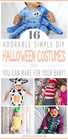 16 Adorable & Simple DIY Baby Halloween Costumes Dress your baby up for Halloween in one of these easy and cute DIY baby Halloween costumes! These easy Halloween costumes are a breeze to make and perfect for your infant or baby Baby Halloween Outfits, Wholesale Halloween Costumes, Diy Halloween Costumes For Kids, Halloween Crafts, Halloween Town, Diy Costumes, Halloween Ideas, Costume Ideas, Happy Halloween
