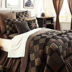 Black Country Primitive Patchwork Twin Queen Cal King Size Quilt Bedding Set  #VhcBrands #RusticPrimitive