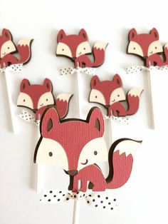 Fox Cupcake Toppers -Set of 12 | Little fox baby shower | Forest animals cupcake picks | Woodland theme birthday party decor.