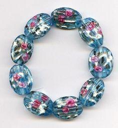 Vtg Tabular Rare Czech Aqua Foil Florals 8 Total Ridged Glass Beads 1920s #Czech #Lampwork