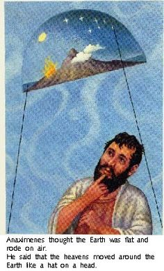 #Anaximenes of Miletus, 585 BC- 528 BC, #Greek Pre-Socratic philosopher . He, like others in his school of thought, practiced material monism. For Anaximenes  the originated principle of nature was #air. Air felted to create the flat disk of the earth, which he said was table-like and behaved like a leaf floating on air. Through the process of rarefaction and condensation world was created.