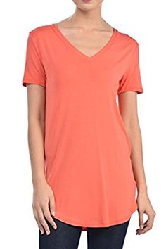 c216a9c8751 Shamaim Womens Short Sleeve Modal   Rayon T shirt V-Neck Tunic Top. S