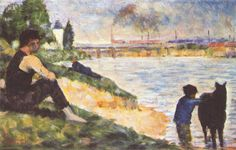 Boy with horse, 1883, oil on wood, 15.9 x 24.8 cm. National Galleries of Scotland. Post-Impressionism, Georges Seurat (1859- 1891).
