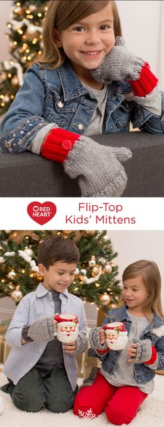 Flip-Top Kids' Mittens Free Knitting Pattern in Red Heart Yarns -- Mittens are fun to knit and great for keeping hands warm and cozy. This flip-top design makes it easy to use your fingers without taking your mittens off. Pattern is given in kid's and adult sizes.