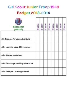 Junior Girl Scout Troop Badge Requirement Tracker