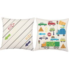 Cars, trucks and all things that go vroom! These bright throw pillows are perfect for adding a pop of color to your little one's space. Featuring adorable cars, trucks and traffic signs they're sure t