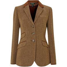 Lauren by Ralph Lauren Tweed hacking jacket with suede tipped collar (€300) ❤…