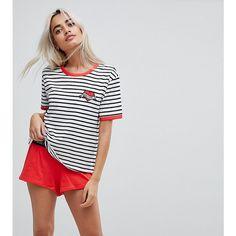 9dc15e792dfb ASOS PETITE Whatever Embroidered Stripe Tee   Short Pyjama Set ( 33) ❤ liked  on