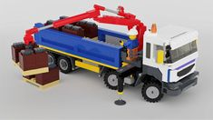 Delivering pallets of slate to a construction site with the mounted crane Lego Crane, Lego Auto, Lego Universe, Lego Truck, Truck Transport, Lego Vehicles, Lego Construction, Airplane Mode, Lego Design