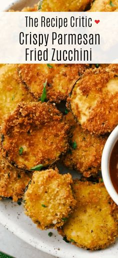 Crispy Parmesan Fried Zucchini are savory parmesan and panko coated zucchini bites.  They will quickly become a favorite for an easy and crowd-pleasing snack, appetizer or side dish! Fried Zucchini Recipes, Vegetable Recipes, Baked Fried Zucchini, Parmesan Zucchini Bites, Zucchini Pasta, Great Recipes, Favorite Recipes, Chicken Bites, Bbq Chicken