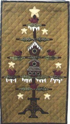 free Prim Halloween Wool Applique   Primitive Folk Art Wool Applique Wall Quilt Pattern: HOLLY DAY INN