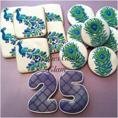 Peacock cookies, peacock feathers, peacock themed birthday